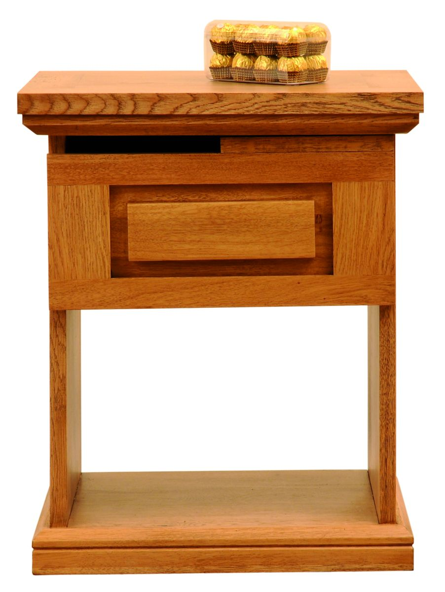 Solid Oak Lamp Table, 1 Drawer