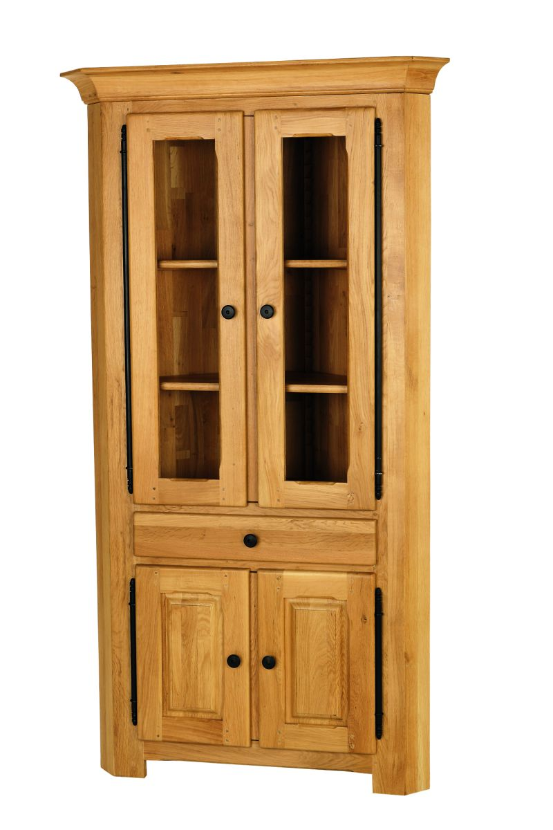 Solid Oak Corner Display Cabinet, 4 Doors and 1 Drawer