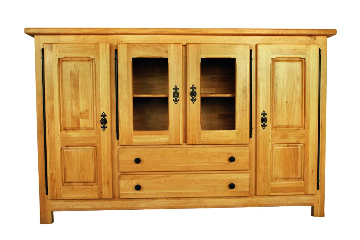 Solid Oak Highboard, 4 Doors and 2 Drawers