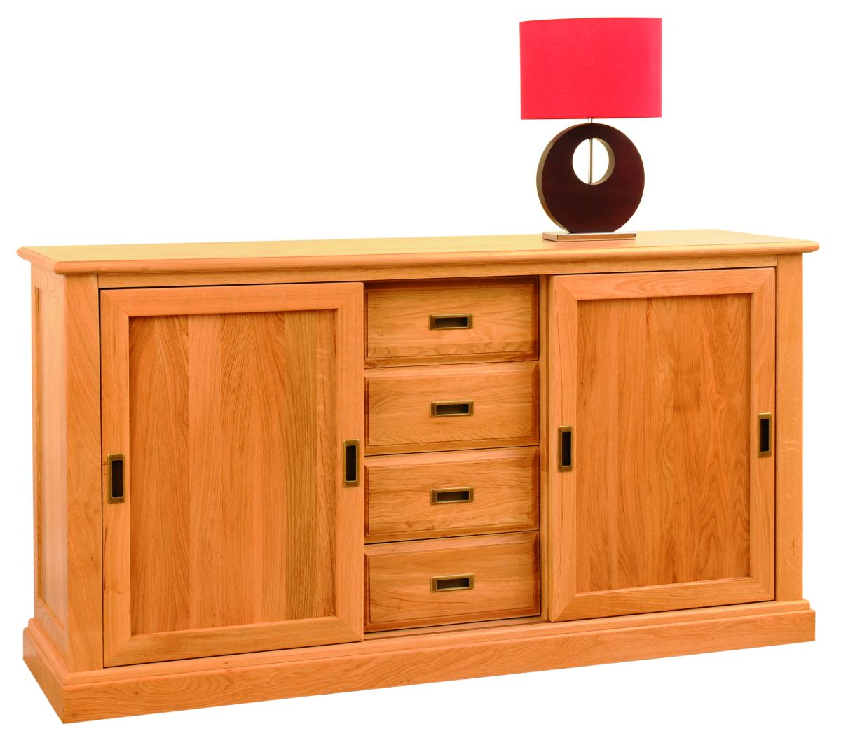 Solid Oak Sideboard, 2 Doors and 4 Drawers