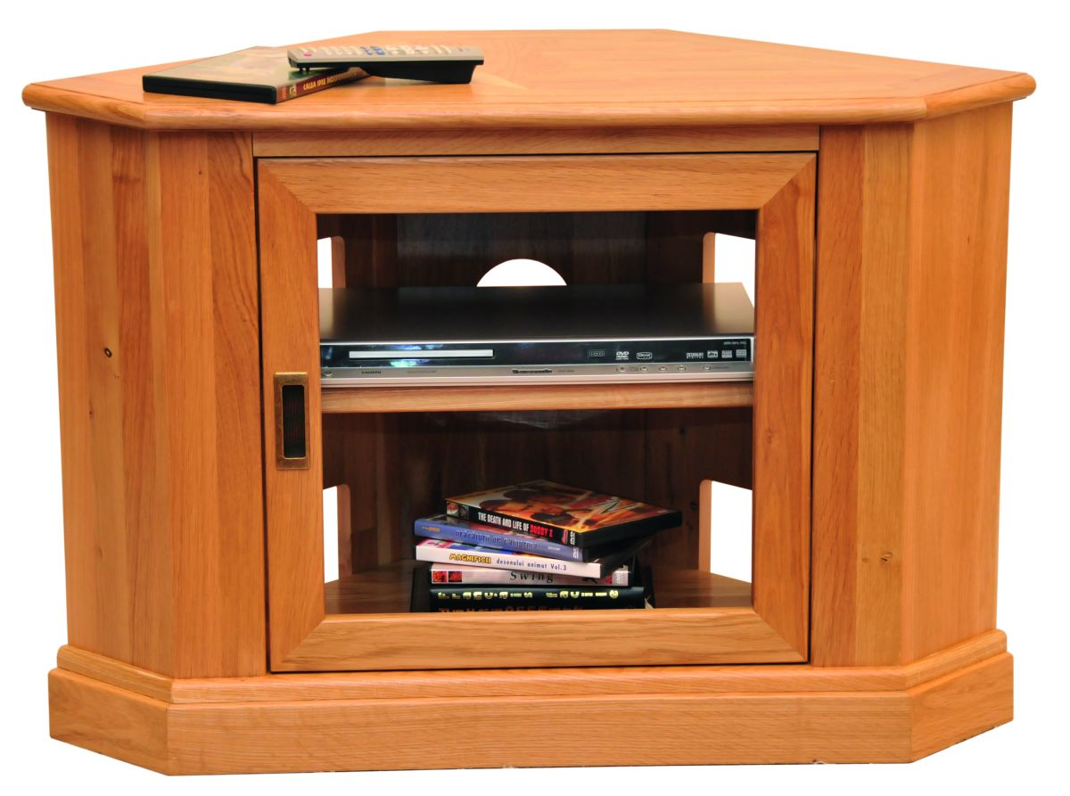Solid Oak Corner TV Unit, 1 Door