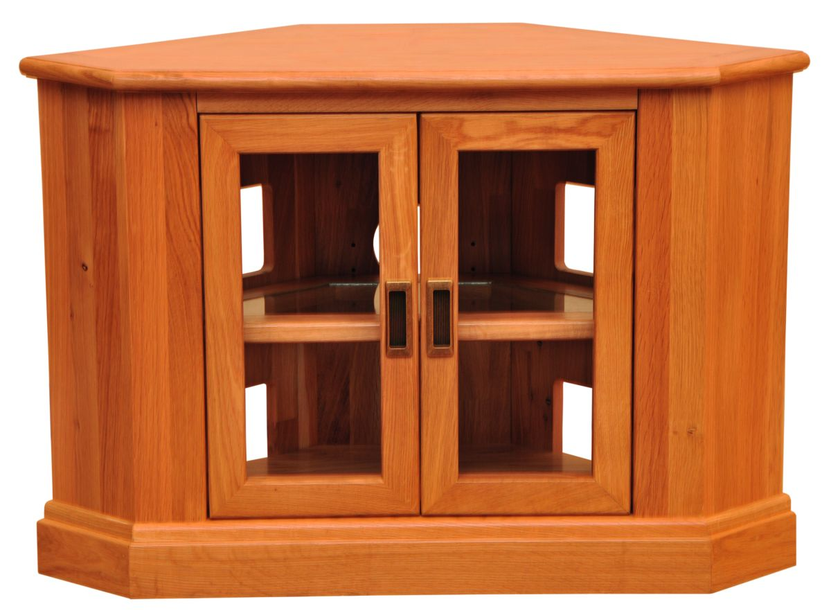 Solid Oak Corner TV Unit, 2 Doors