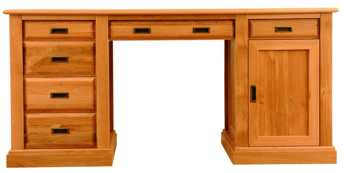 Solid Oak Desk, 1 Door and 6 Drawers