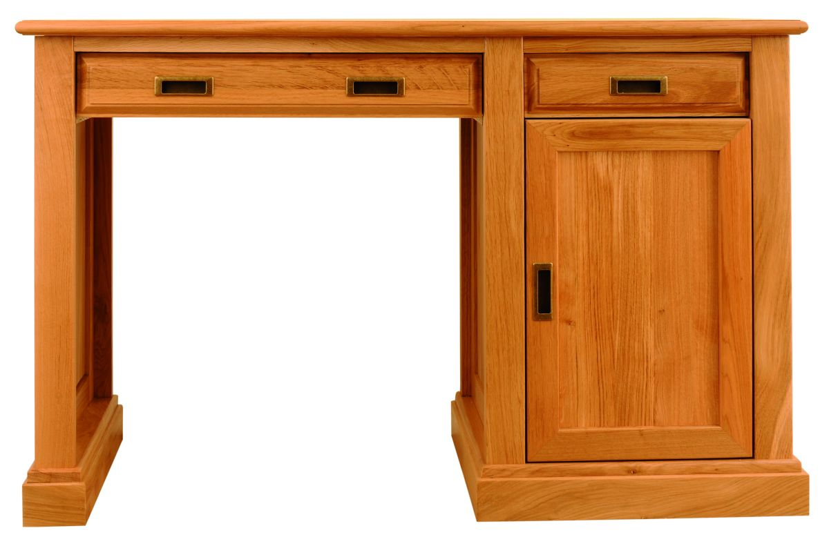 Solid Oak Desk, 1 Door and 2 Drawers