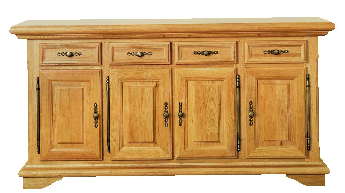 Solid Oak Sideboard, 4 Doors and 4 Drawers