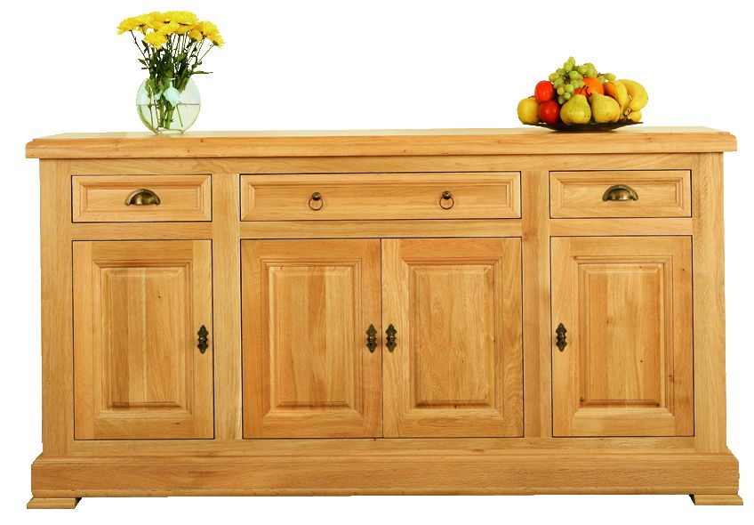 Solid Oak Sideboard, 4 Doors and 3 Drawers