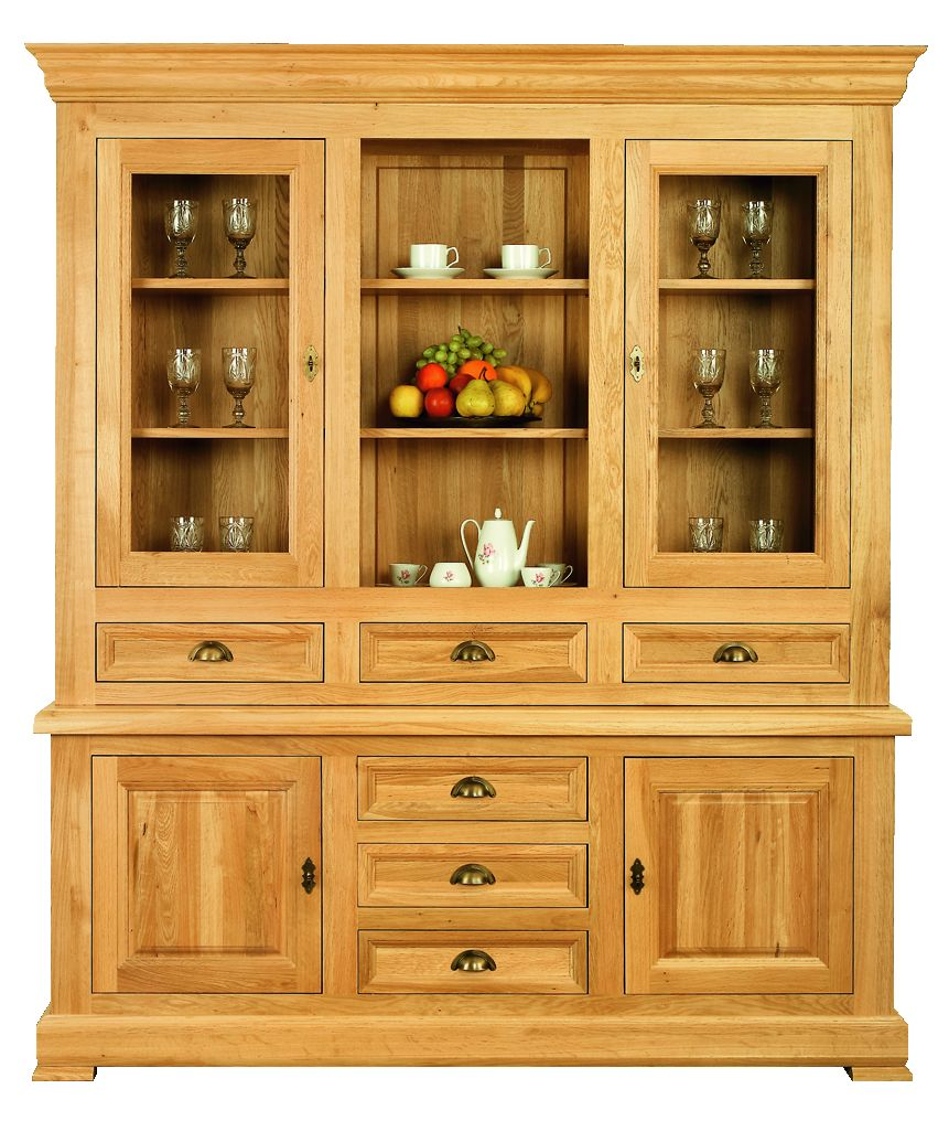 Solid Oak Cabinet Base and Top, 4 Doors, 6 Drawers and 1 Open Area