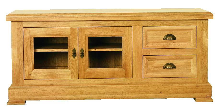 Solid Oak TV Unit, 2 Doors and 2 Drawers