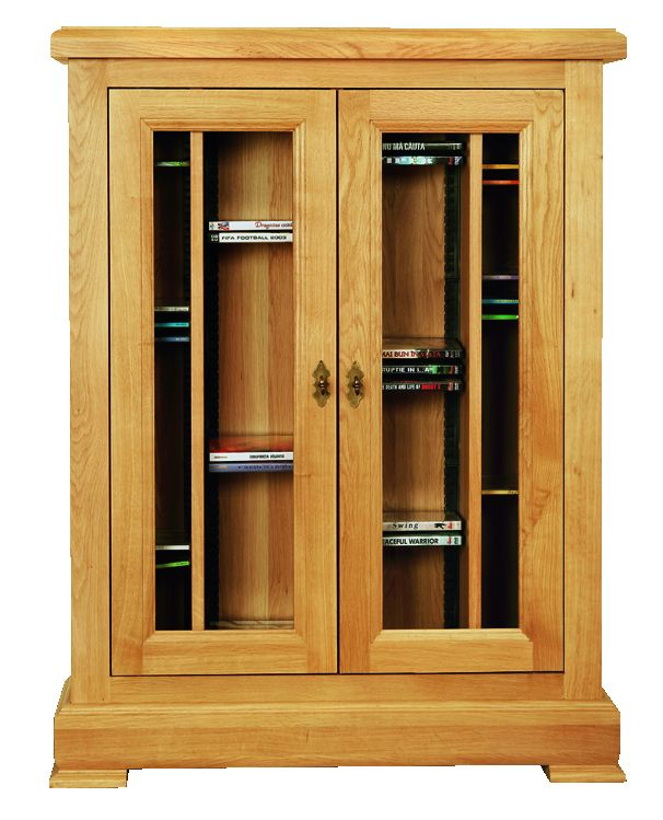 Solid Oak CD and DVD Rack, 2 Doors