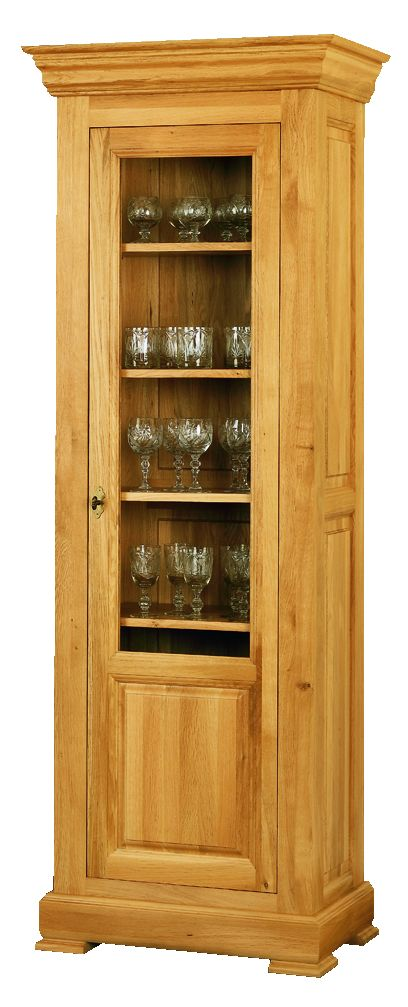Solid Oak Display Cabinet, 1 Door