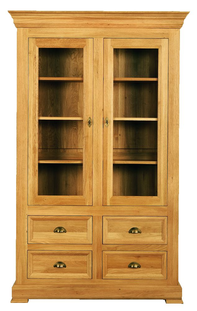 Solid Oak Display Cabinet, 2 Doors and 4 Drawers