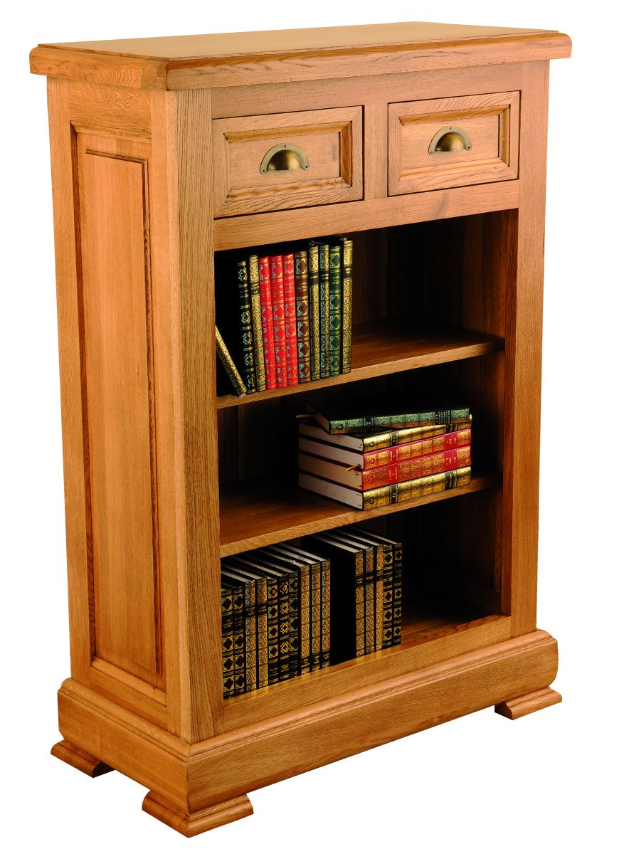 Solid Oak Bookcase, 2 Drawers