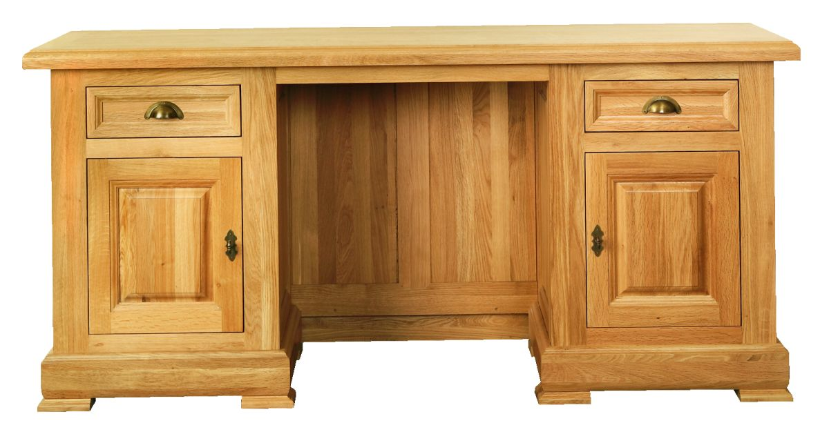 Solid Oak Desk, 2 Doors and 2 Drawers