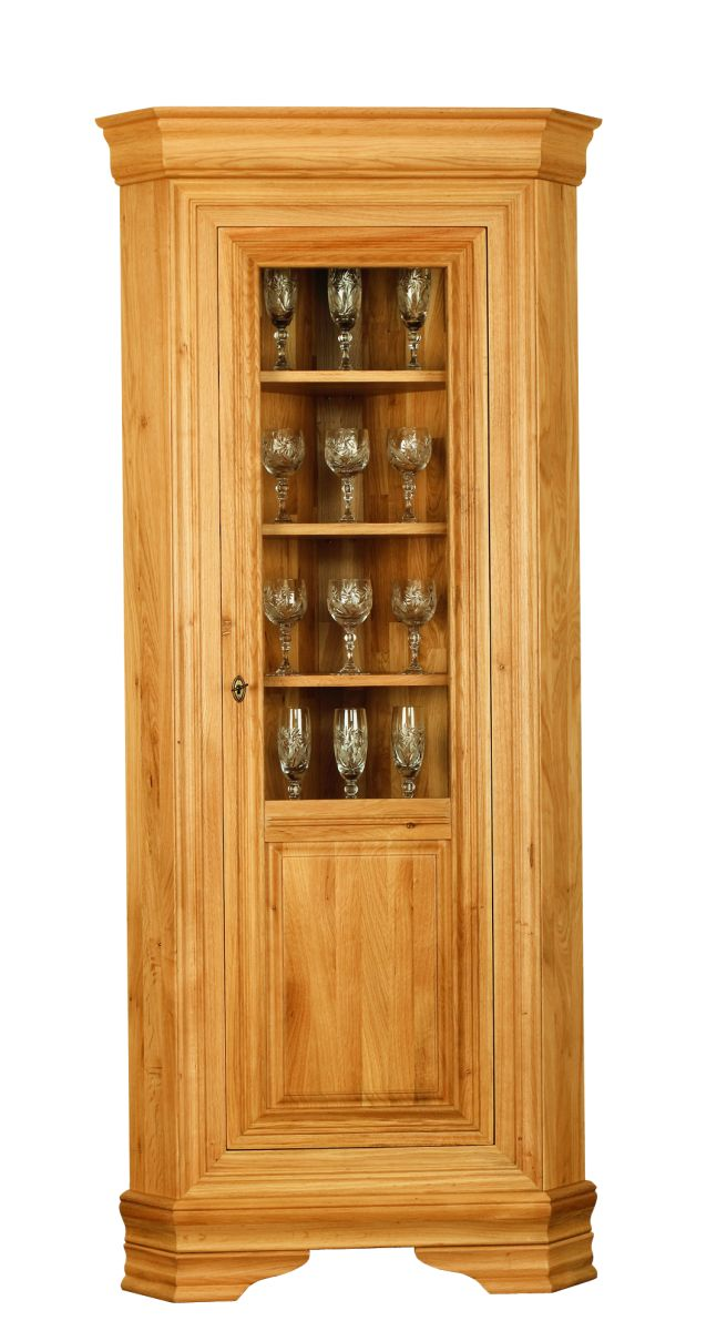 Solid Oak Corner Display Cabinet, 1 Door