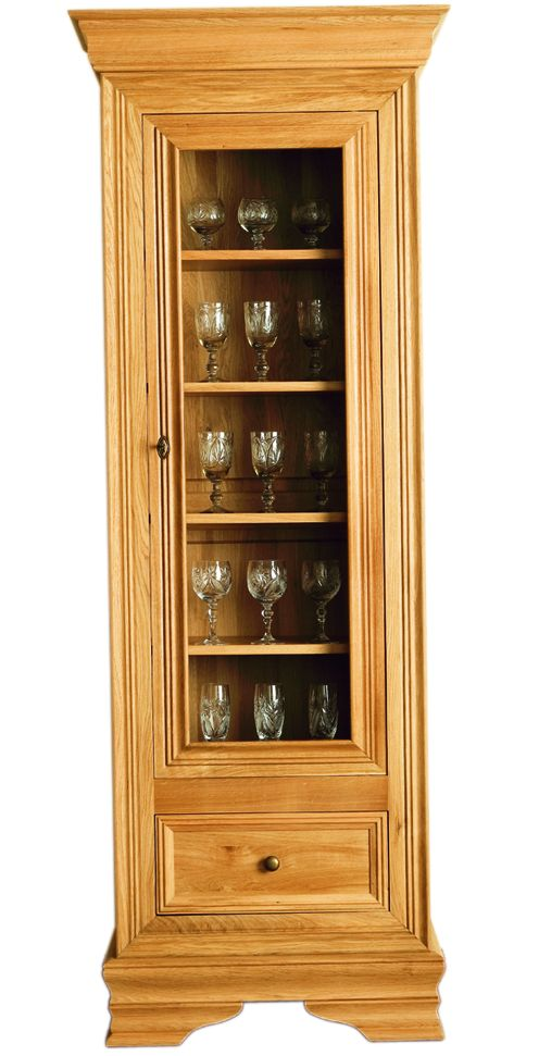 Solid Oak Display Cabinet, 1 Door and 1 Drawer