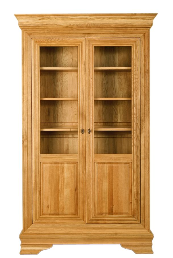 Solid Oak Display Cabinet, 2 Doors