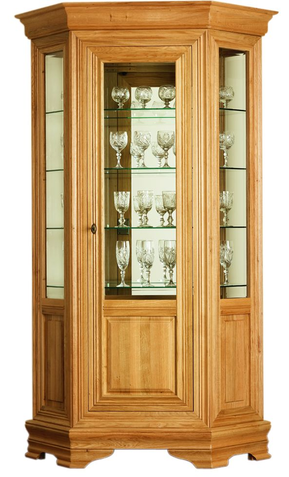 Solid Oak Hexagonal Display Cabinet, 1 Door