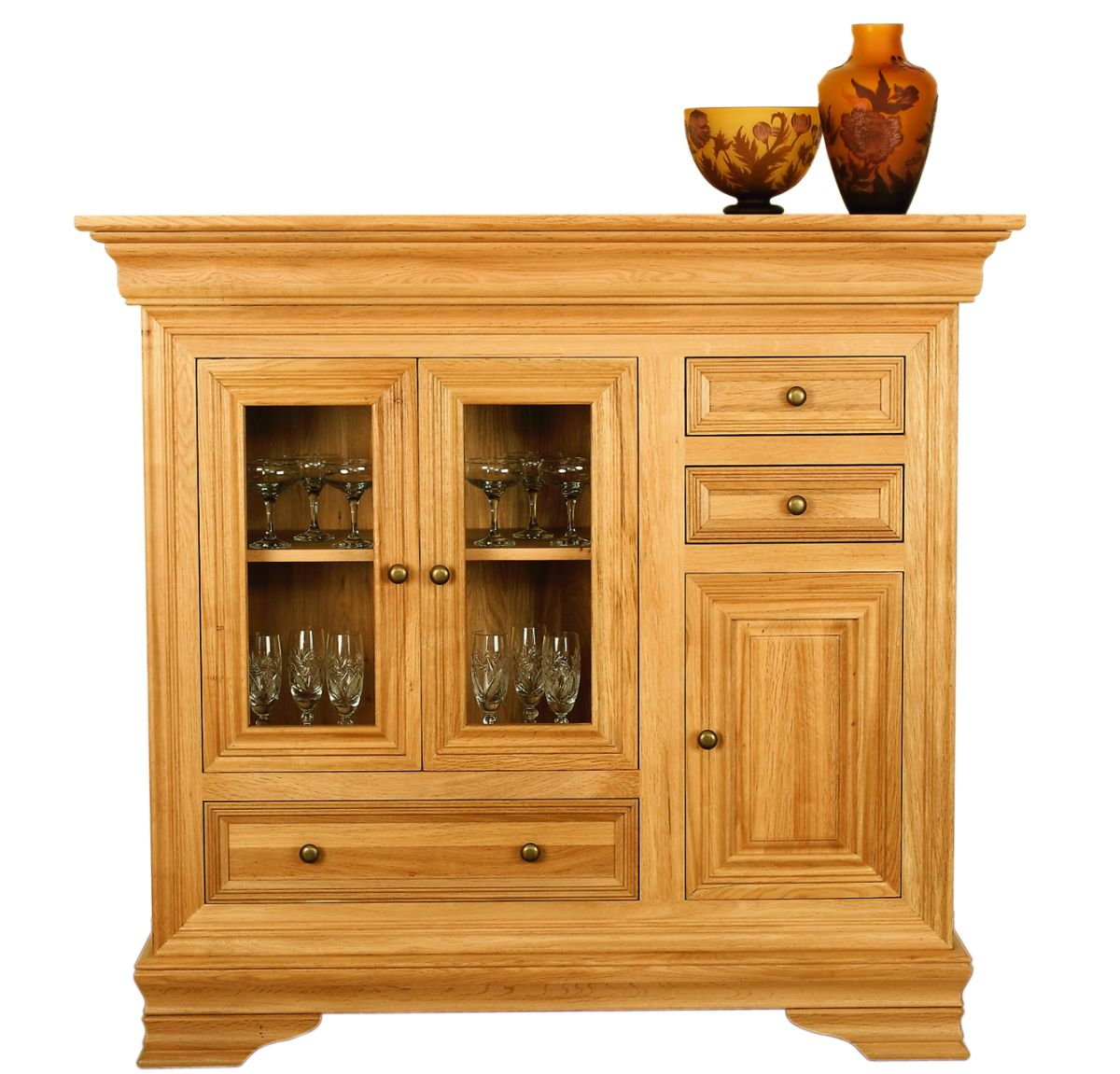 Solid Oak Highboard, 3 Doors and 3 Drawers