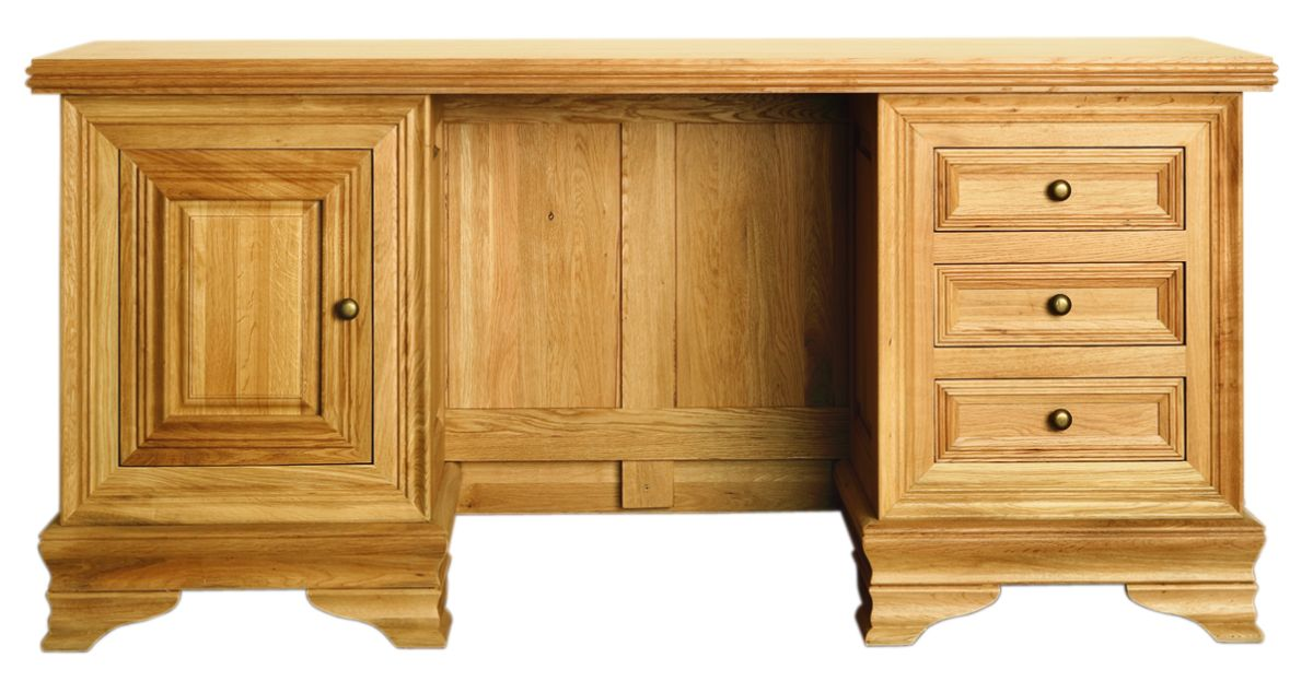 Solid Oak Desk, 1 Door and 3 Drawers