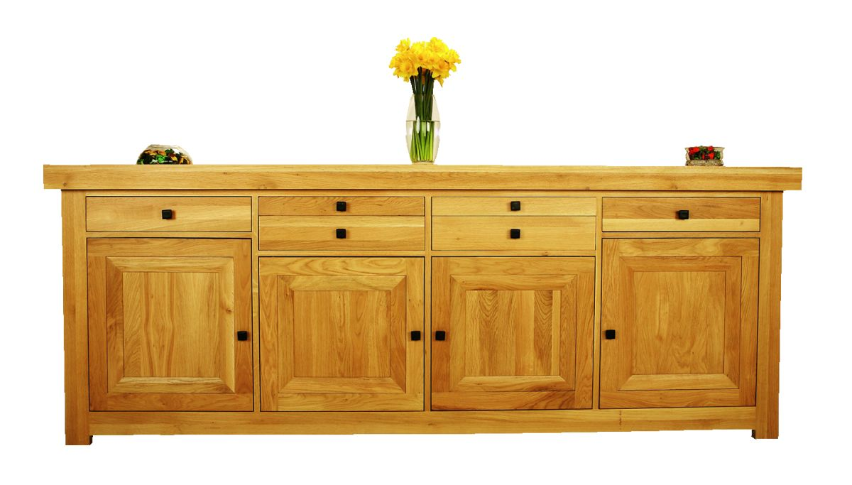 Solid Oak Sideboard, 4 Doors and 6 Drawers