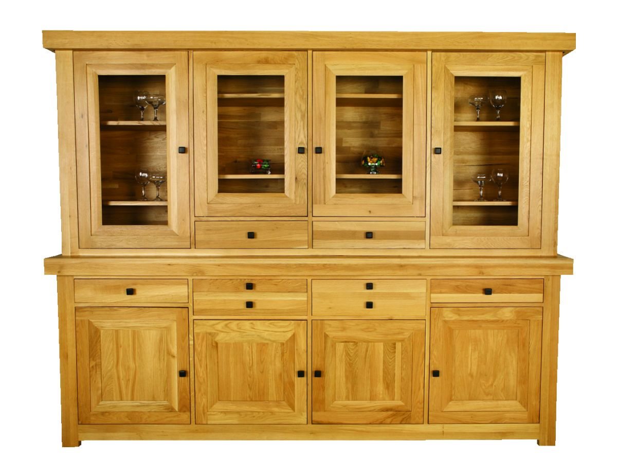 Solid Oak Cabinet Top, 4 Doors and 2 Drawers