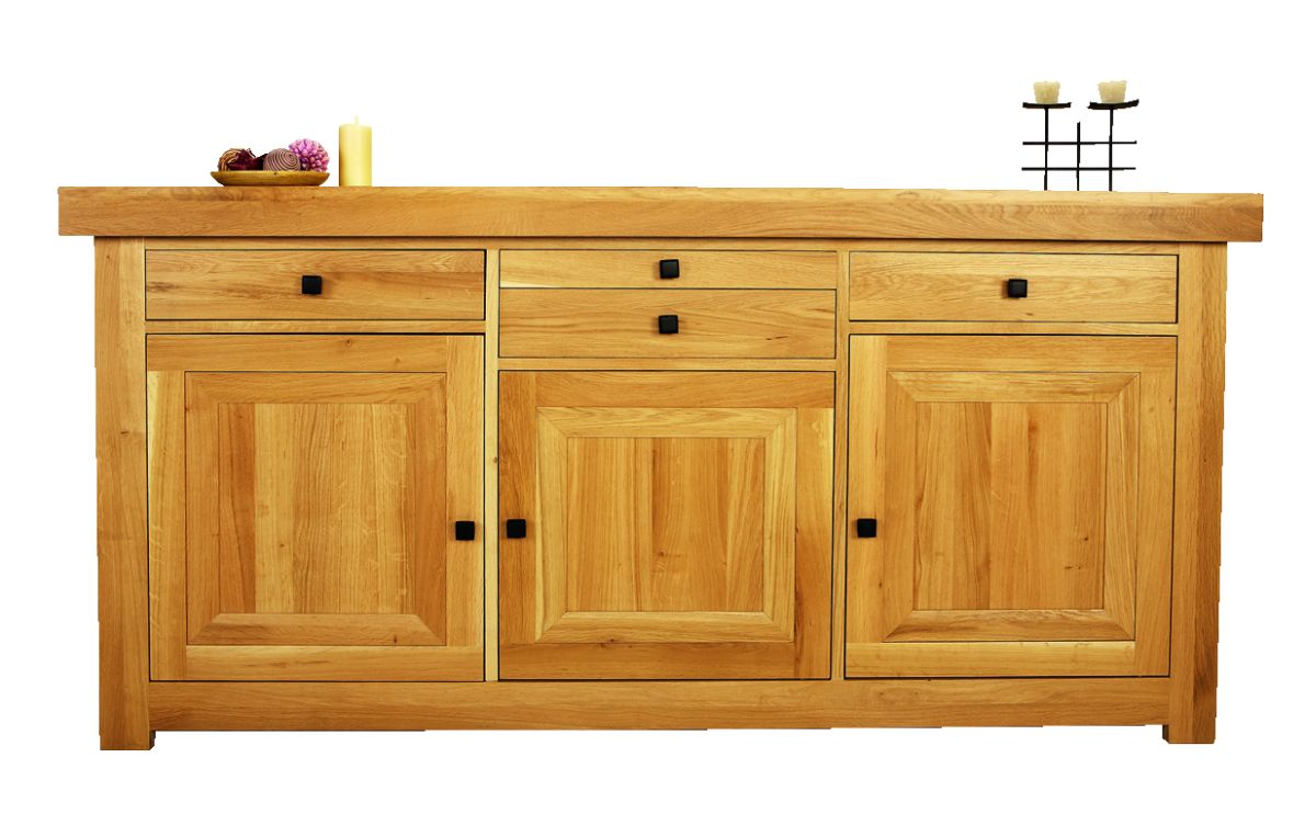 Solid Oak Sideboard, 3 Doors and 4 Drawers