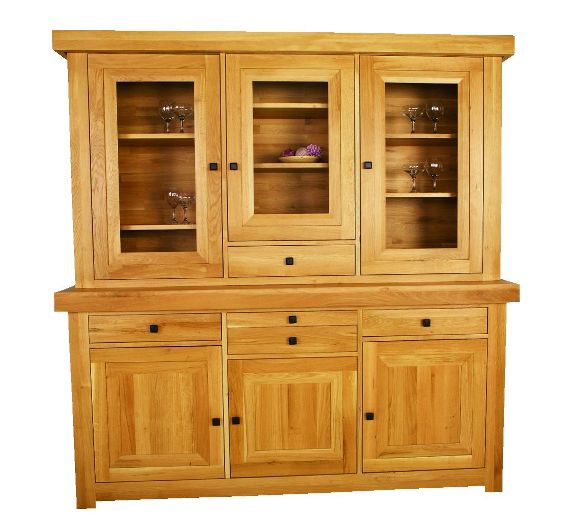Solid Oak Cabinet Top, 3 Doors and 1 Drawer