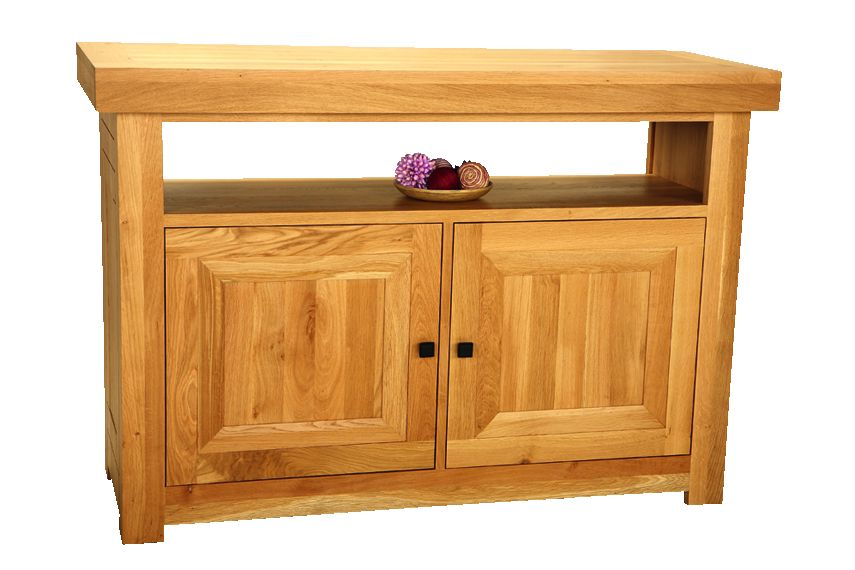 Solid Oak Entertainment Unit, 2 Doors and 1 Open Area