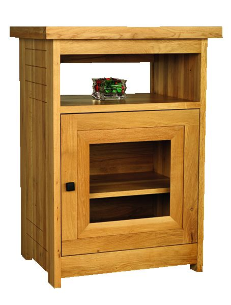 Solid Oak Hi-Fi Unit, 1 Door and 1 Open Area