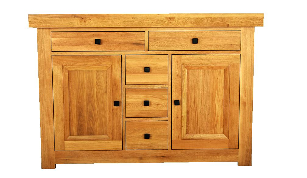 Solid Oak Sideboard, 2 Doors and 5 Drawers