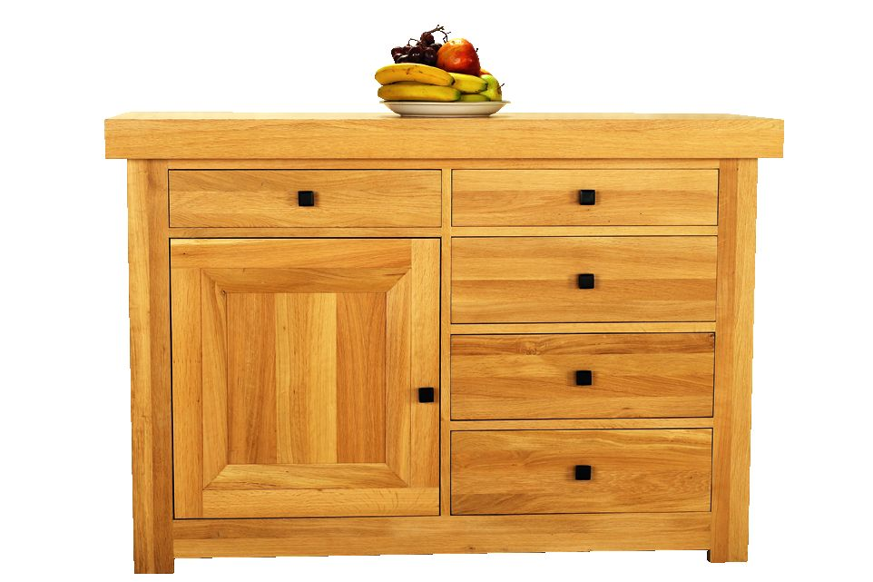 Solid Oak Sideboard, 1 Door and 5 Drawers