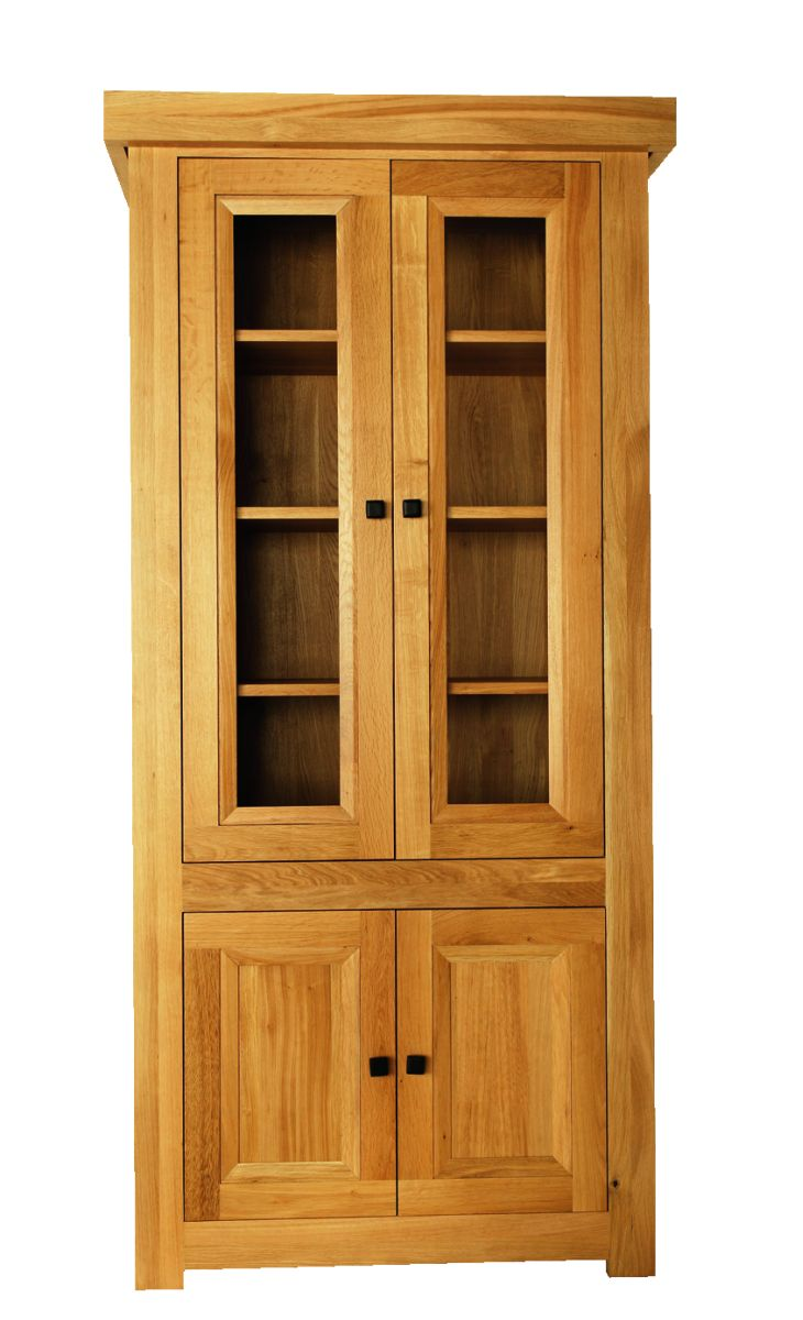 Solid Oak Display Cabinet, 4 Doors
