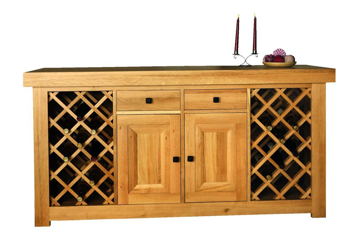 Solid Oak Wine Cabinet, 2 Doors and 2 Wine Racks