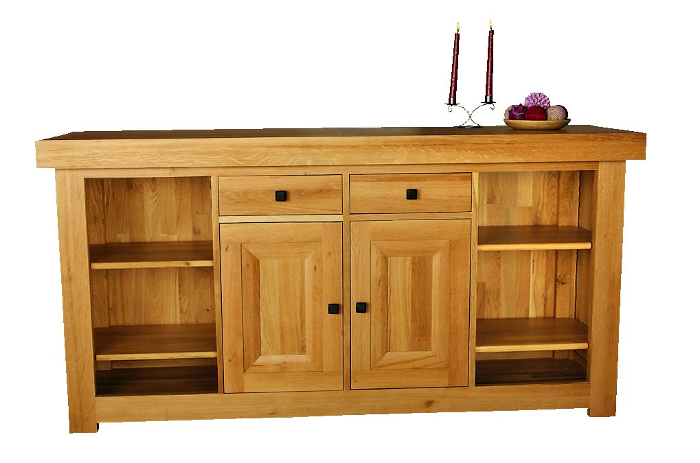Solid Oak Sideboard, 2 Doors and 2 Open Areas