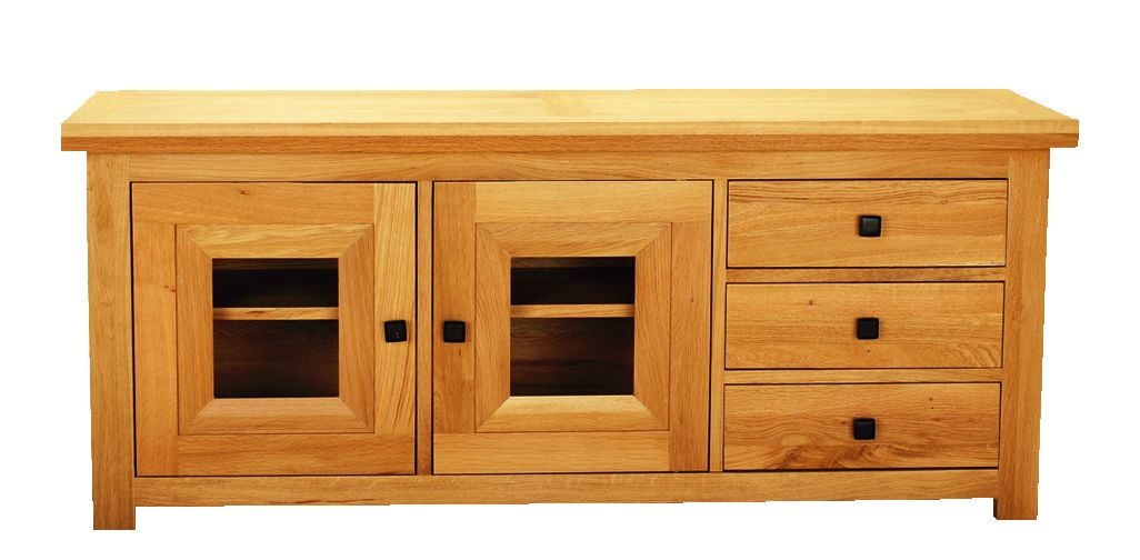 Solid Oak TV Unit, 2 Doors and 3 Drawers