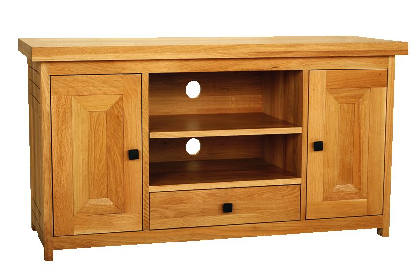 Solid Oak Widescreen TV Unit, 2 Doors and 1 Drawer