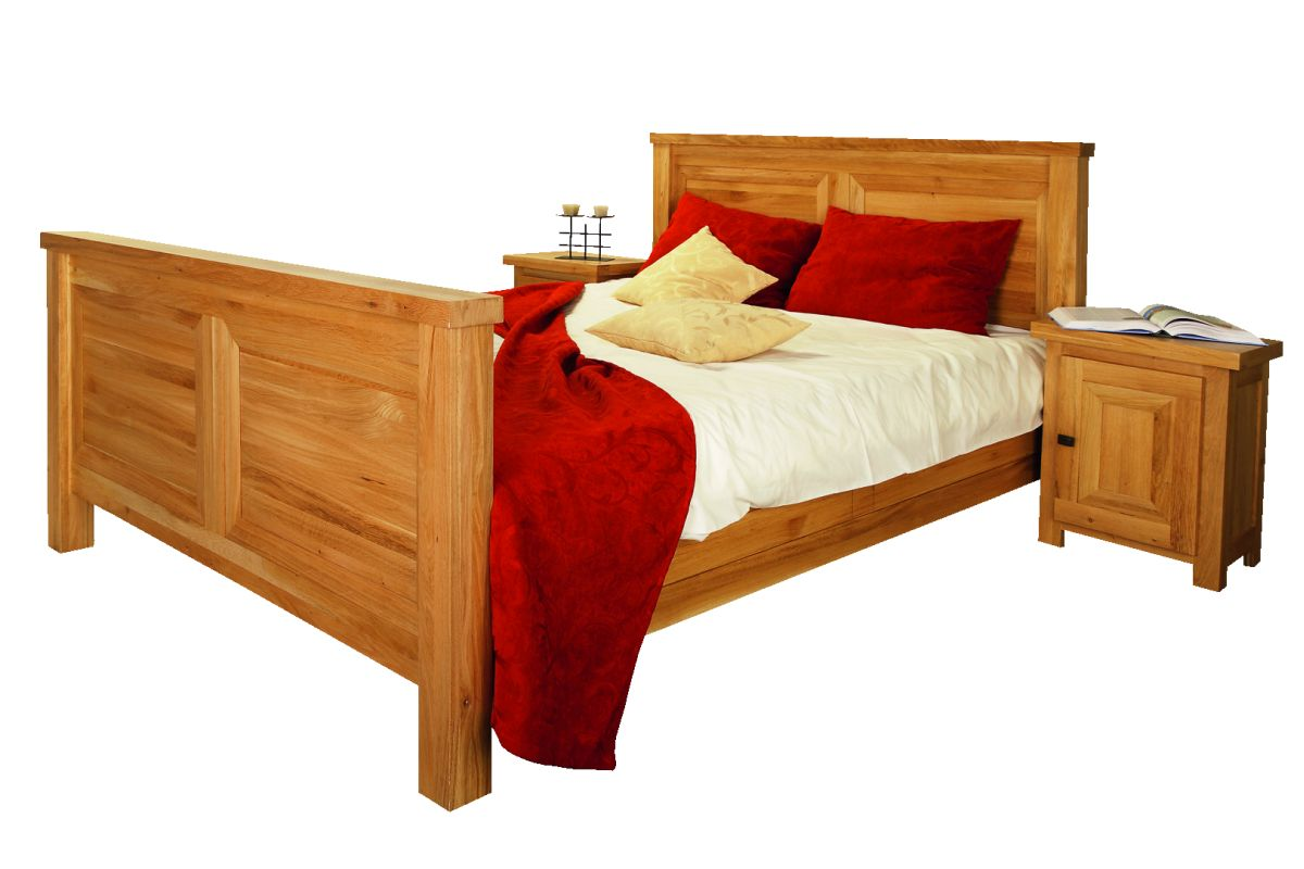 Solid Oak Bed, High Footboard