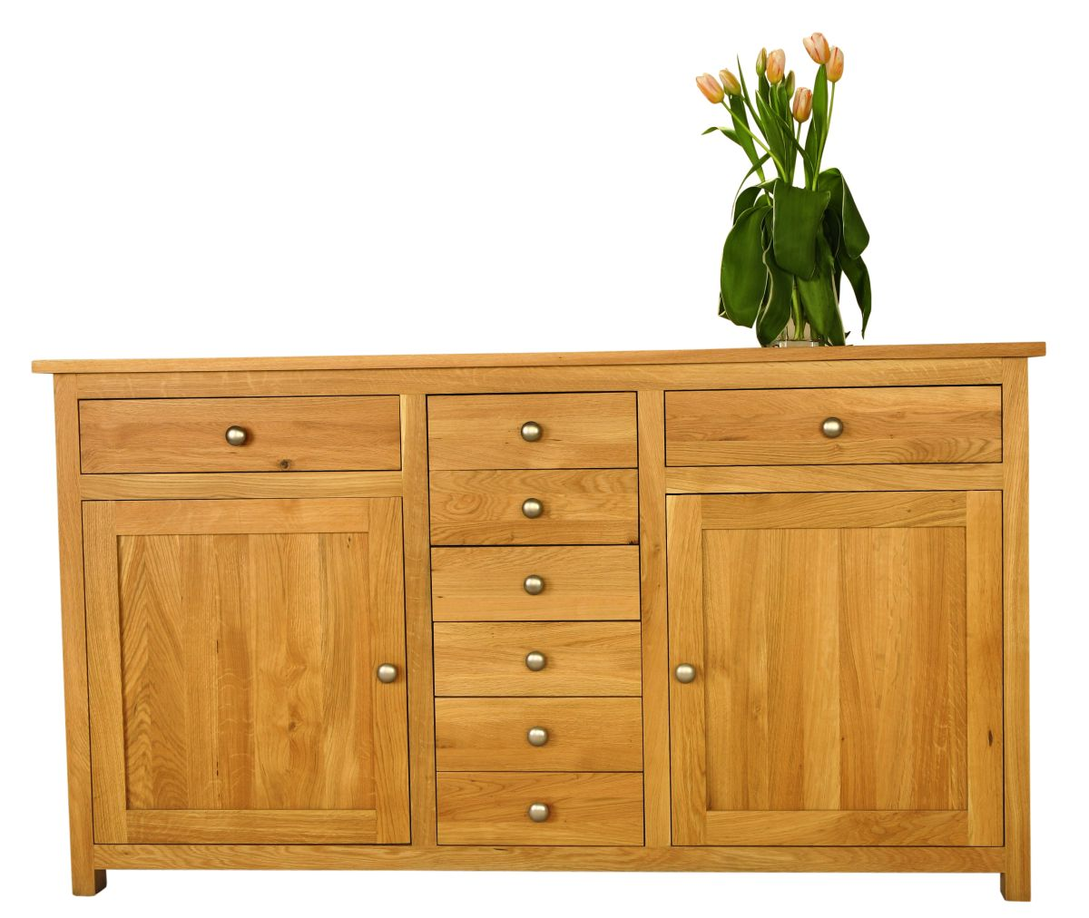 Solid Oak Sideboard, 2 Doors and 8 Drawers