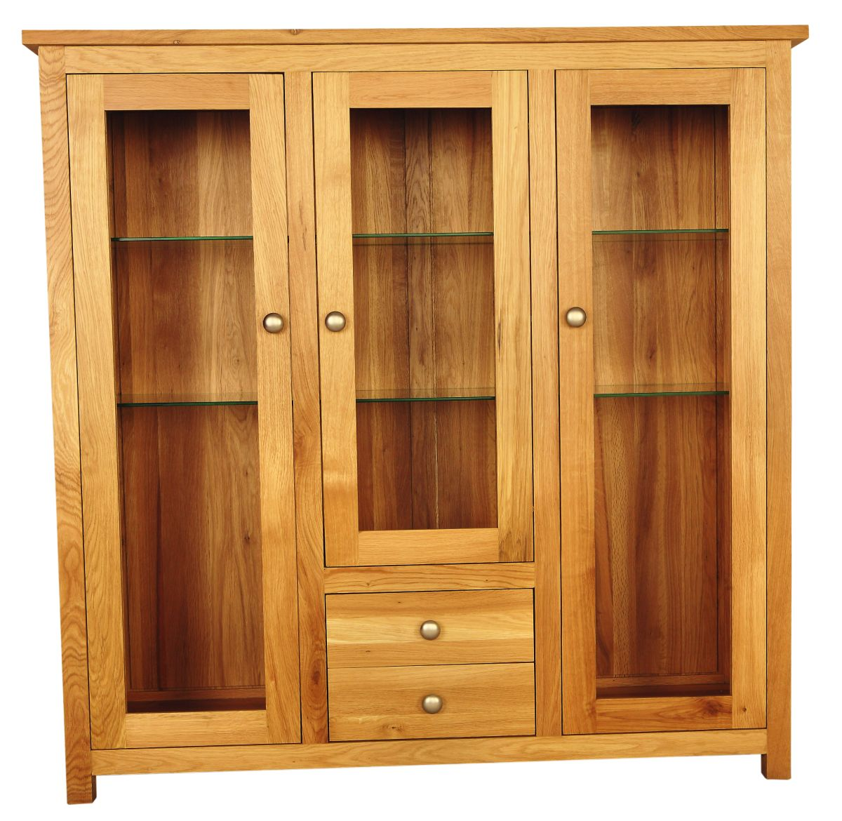 Solid Oak Display Cabinet, 3 Doors and 2 Drawers