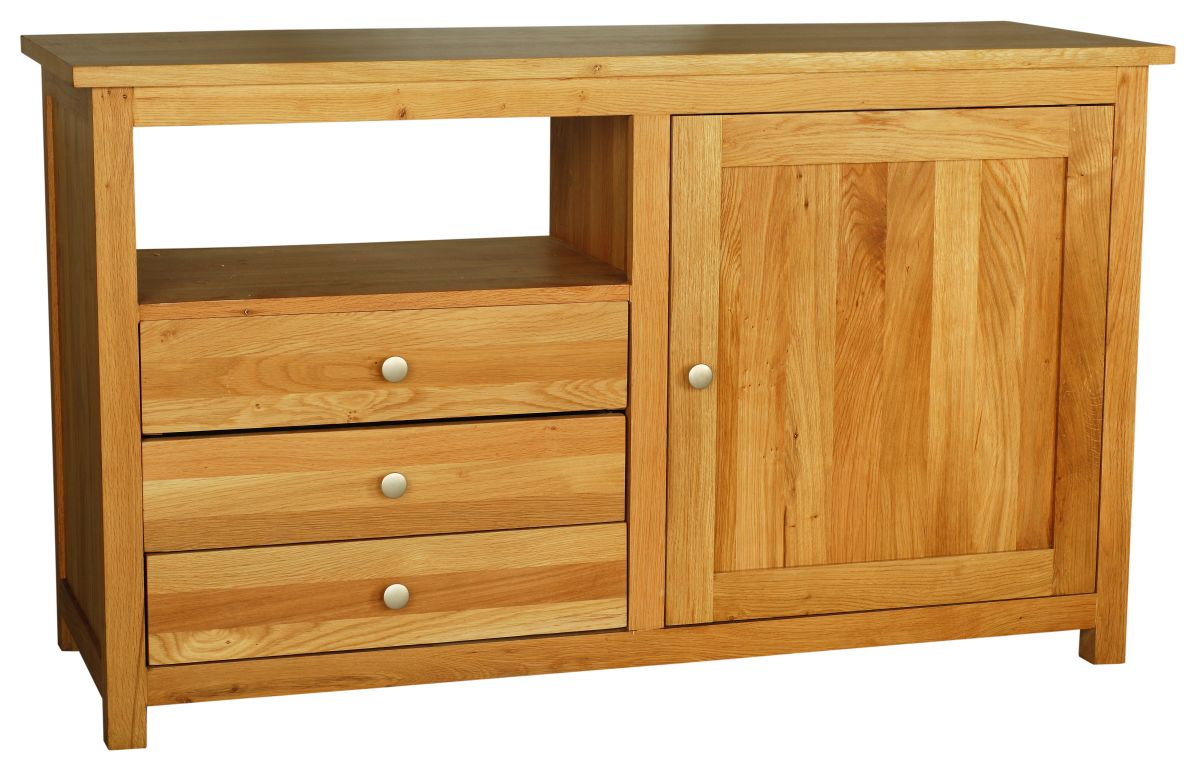 Solid Oak Entertainment Unit, 1 Door and 3 Drawers