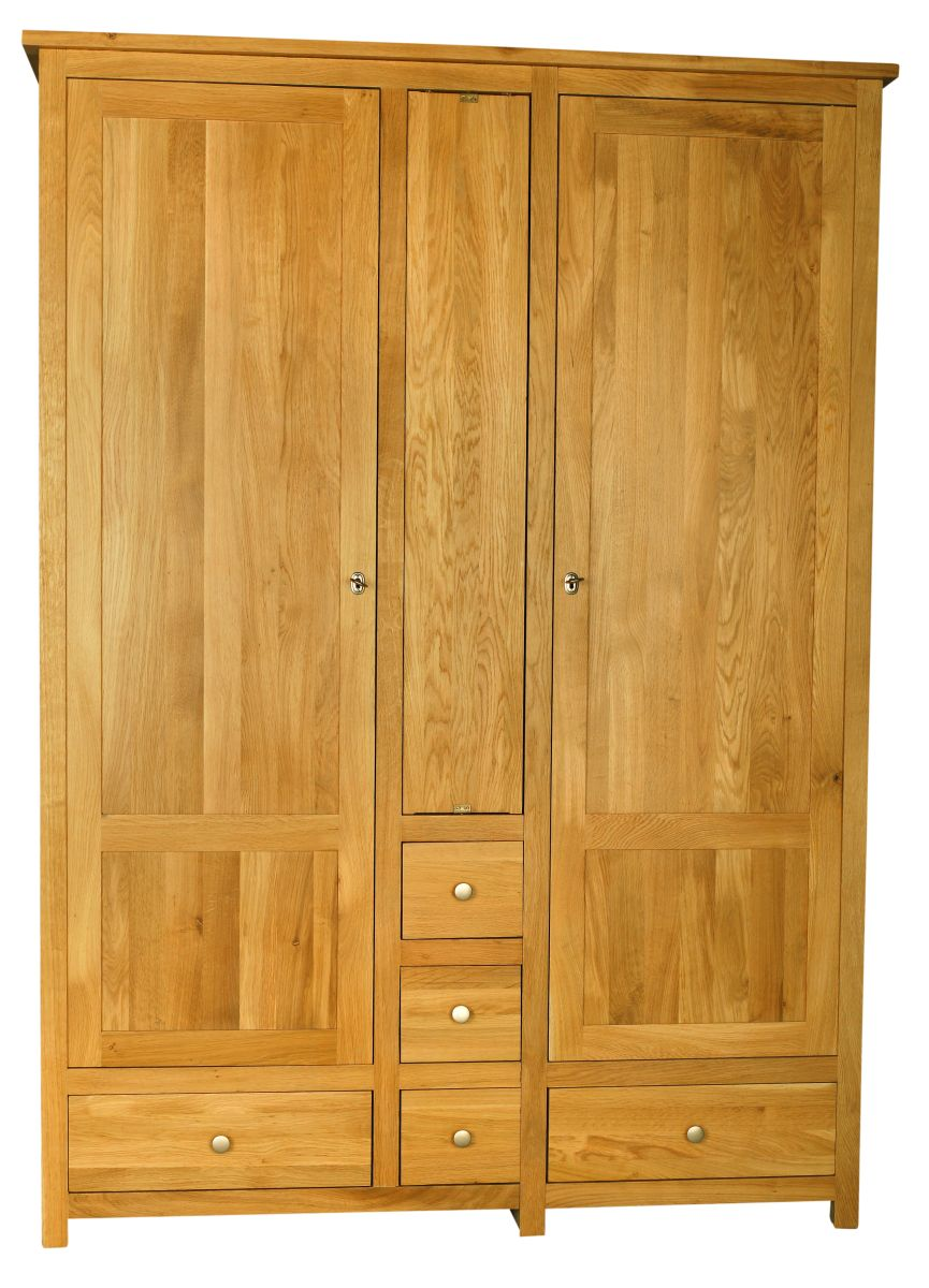 Solid Oak Wardrobe, 2 Doors and 5 Drawers