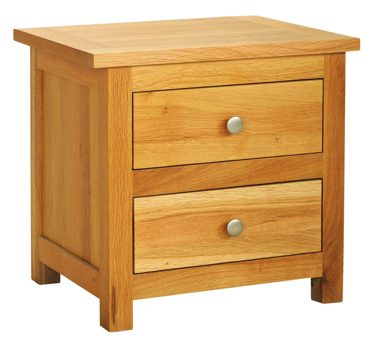 Solid Oak Bedside Cabinet, 2 Drawers