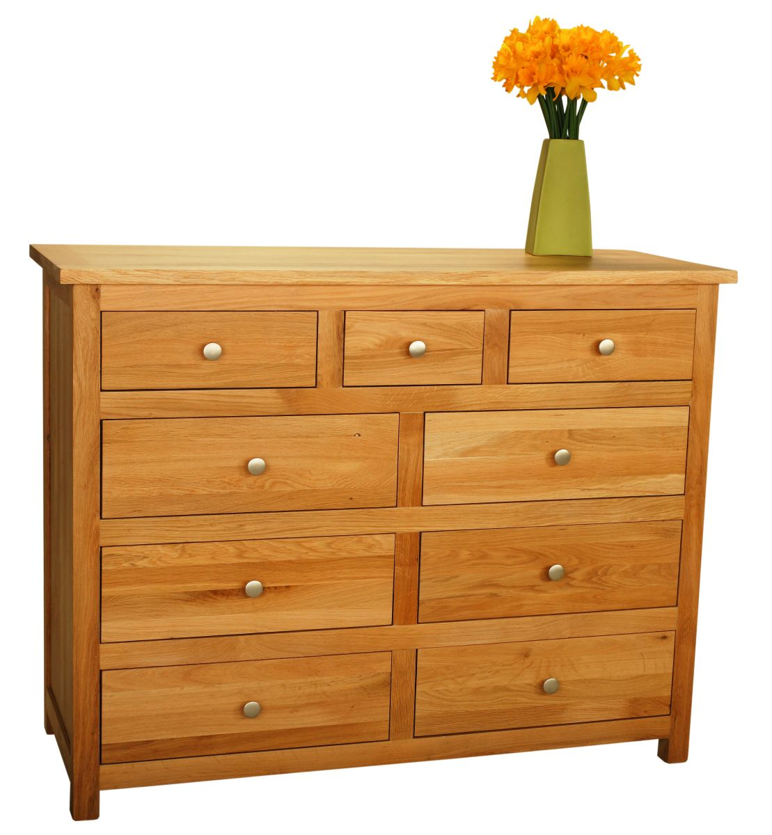Solid Oak Chest, 9 Drawers