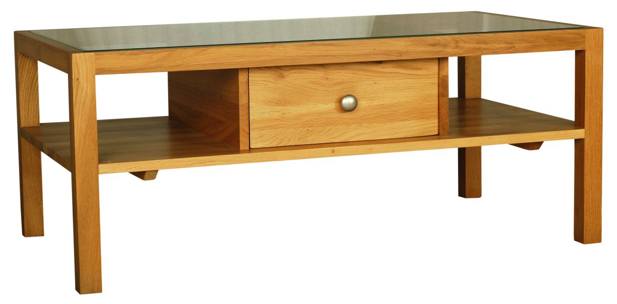 Solid Oak Coffee Table, 1 Drawer, Glazed Top